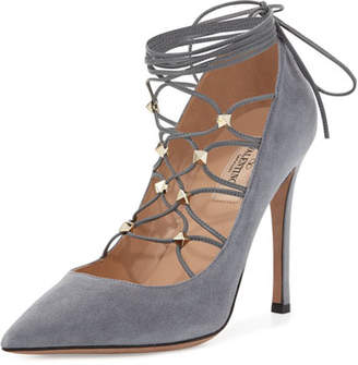 Valentino Rockstud Suede Lace-Up 105mm Pump, Light Stone