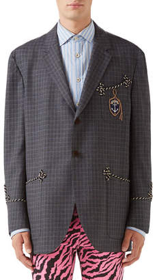 Gucci Men's Rope-Trip Check Two-Button Jacket