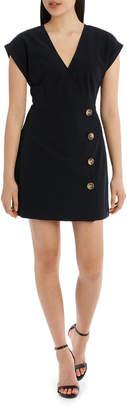 Miss Shop Button Feature Wrap Dress - Navy