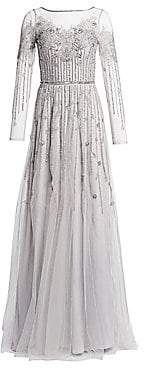 Theia Women's Embellished Tulle Gown
