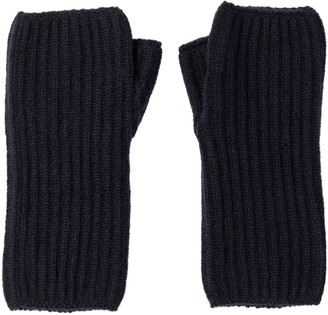 Johnstons of Elgin Navy Ribbed Womens Cashmere Wristwarmers
