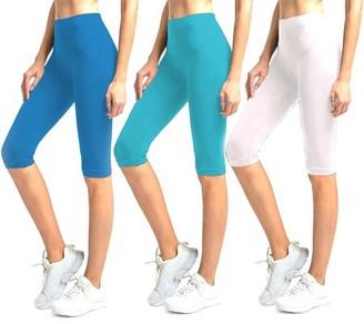 Glass House Apparel Solid Knee Length Short Spandex Yoga Leggings 3 Pack (Royal Blue, Aqua, White)