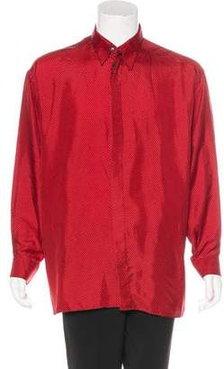 Versace V2 Geometric Print Silk Shirt