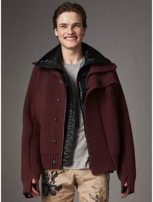 Burberry Rib Knit Cotton Blend Jacket with Down-filled Gilet