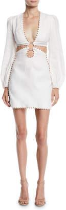 Zimmermann Corsage O-Ring Cutout Mini Dress w/ Braided Trim