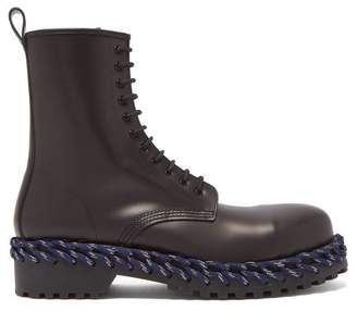 Balenciaga Leather Boots With Lacing Detail - Mens - Black