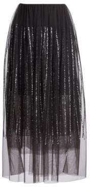 Brunello Cucinelli Sequin& Tulle Midi Skirt