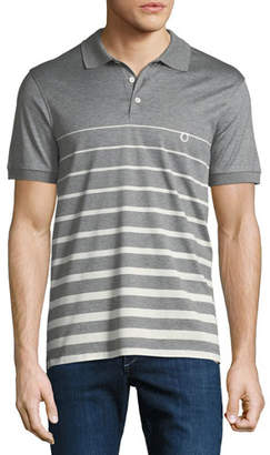 Salvatore Ferragamo Men's Horizon Striped Cotton Polo Shirt with Gancio Embroidery