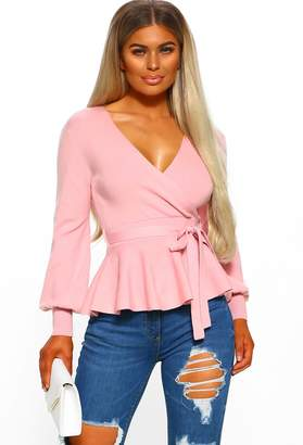 Pink Boutique Love On Top Pink Wrap Peplum Knit With V Neck