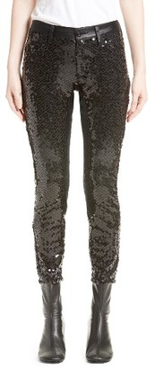 Women's Junya Watanabe Sequin Stretch Skinny Pants $1,120 thestylecure.com
