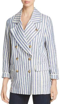Scotch & Soda Striped Double-Breasted Linen Coat