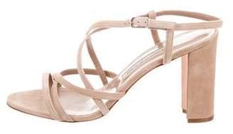 Manolo Blahnik Suede Crossover Strap Sandals