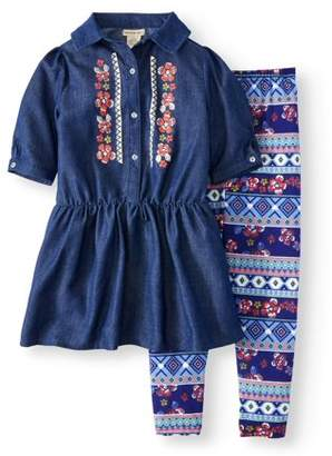 ONE STEP UP Floral Denim Shirtdress & Printed Legging, 2-Piece Outfit Set (Little Girls & Big Girls)