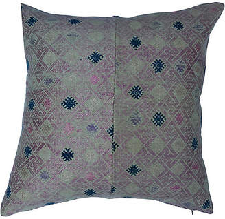 One Kings Lane Vintage Hand Woven Silk Wedding Quilt Pillow - Treasure Trove