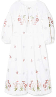 Innika Choo - Smocked Embroidered Linen Dress - White