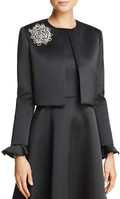 Paule Ka Ruffled-Cuff Duchess Satin Jacket