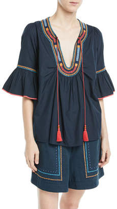 Talitha Collection Half-Sleeve Embroidered Cotton Tunic Blouse