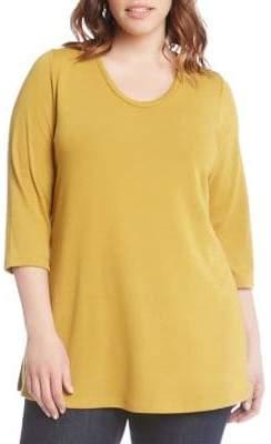 Karen Kane Plus Three-Quarter Side-Slit Sweater