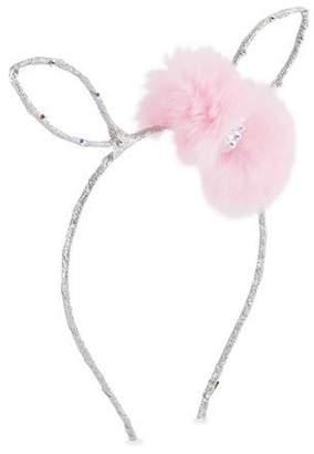 Bari Lynn Girls' Bunny Ear Headband w/ Fur Bow