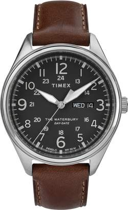 Timex R) Waterbury Leather Band Watch, 42mm