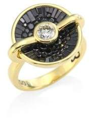 Black Diamond Opus & 18K Yellow Gold Round Ring