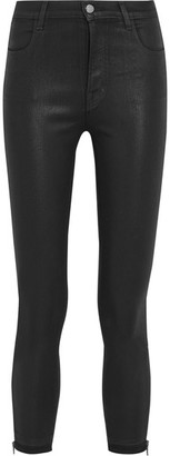 J Brand - Alana Coated High-rise Skinny Jeans - Black $250 thestylecure.com