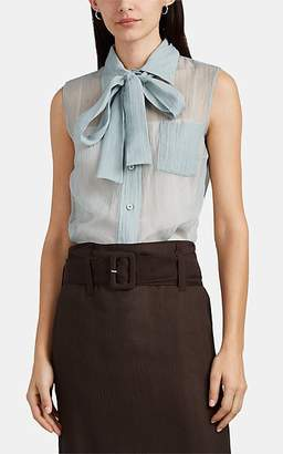 Prada Women's Crinkled Silk Chiffon Blouse - Blue