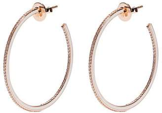 Raphaele Canot - Skinny Deco Diamond, Enamel & Pink Gold Earrings - Womens - Gold