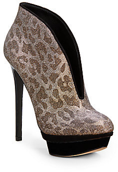 Brian Atwood Fortosa Metallic Leopard Ankle Boots
