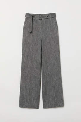 H&M Wide-leg Pants with Belt - Gray