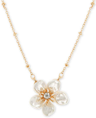 "lonna & lilly Gold-Tone Crystal Flower Pendant Necklace, 16"" + 3"" extender"