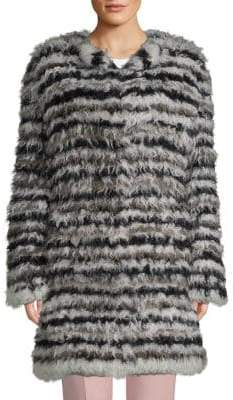 Striped Shearling & Rabbit Fur Coat