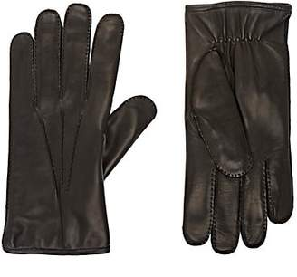 Barneys New York Men's Fur-Lined Leather Gloves - Black