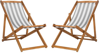 One Kings Lane Set of 2 Tisch Sling Chairs - Gray/White