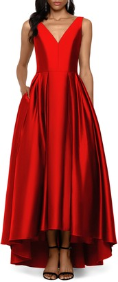 Betsy & Adam V-Neck High/Low Satin Ballgown