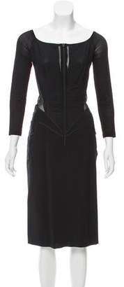 Donna Karan Long Sleeve Midi Dress