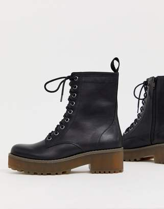 Monki Lace up Boots in Black