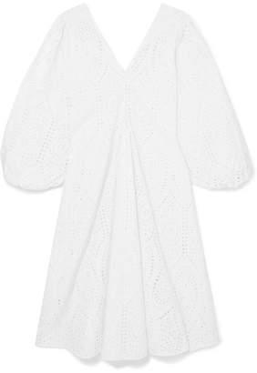 Ganni Broderie Anglaise Cotton Midi Dress - White