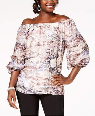 MSK Printed Off-The-Shoulder Balloon-Sleeve Top