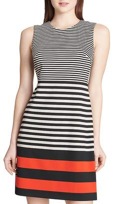 Calvin Klein Striped Ponte Dress