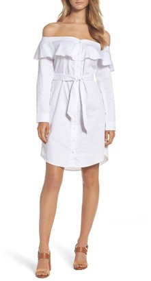 Women's Bardot Natalia Frill Off The Shoulder Shirtdress $119 thestylecure.com
