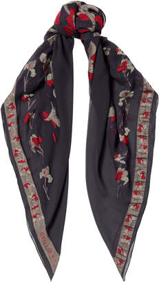 Jimmy Choo MOLY Anthracite and Nude Printed Pashmina Shawl