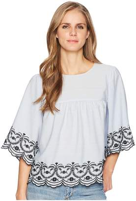 London Times Embroidered Blouse with Scallop Hem Women's Blouse