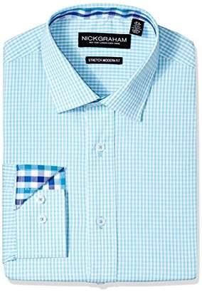 Nick Graham Men's Modern Fitted Mini Windowpane Check Stretch Dress Shirt