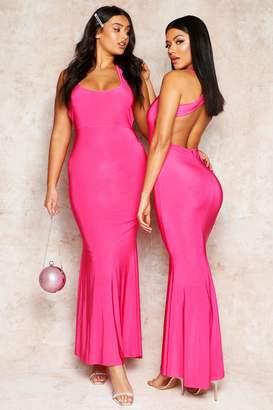7bbf60b5513 boohoo Cross Back Fishtail Maxi Dress