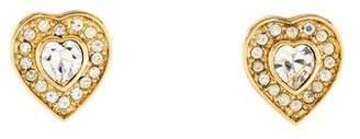 Christian Dior Crystal & Resin Heart Clip-On Earrings