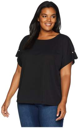 Calvin Klein Plus Plus Size Short Sleeve with Pearl Detail Women's Short Sleeve Pullover