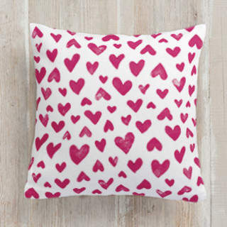 Hand Stamped Hearts Square Pillow