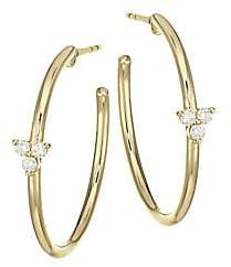 Ef Collection Women's Diamond Trio & 14K Yellow Gold Essential Hoop Earrings