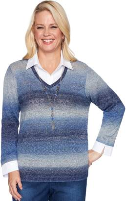 Alfred Dunner Women's Ombre Mock-Layer Sweater